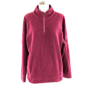 Title Nine Womens Fleece Pullover 1/4 Zip Purple L